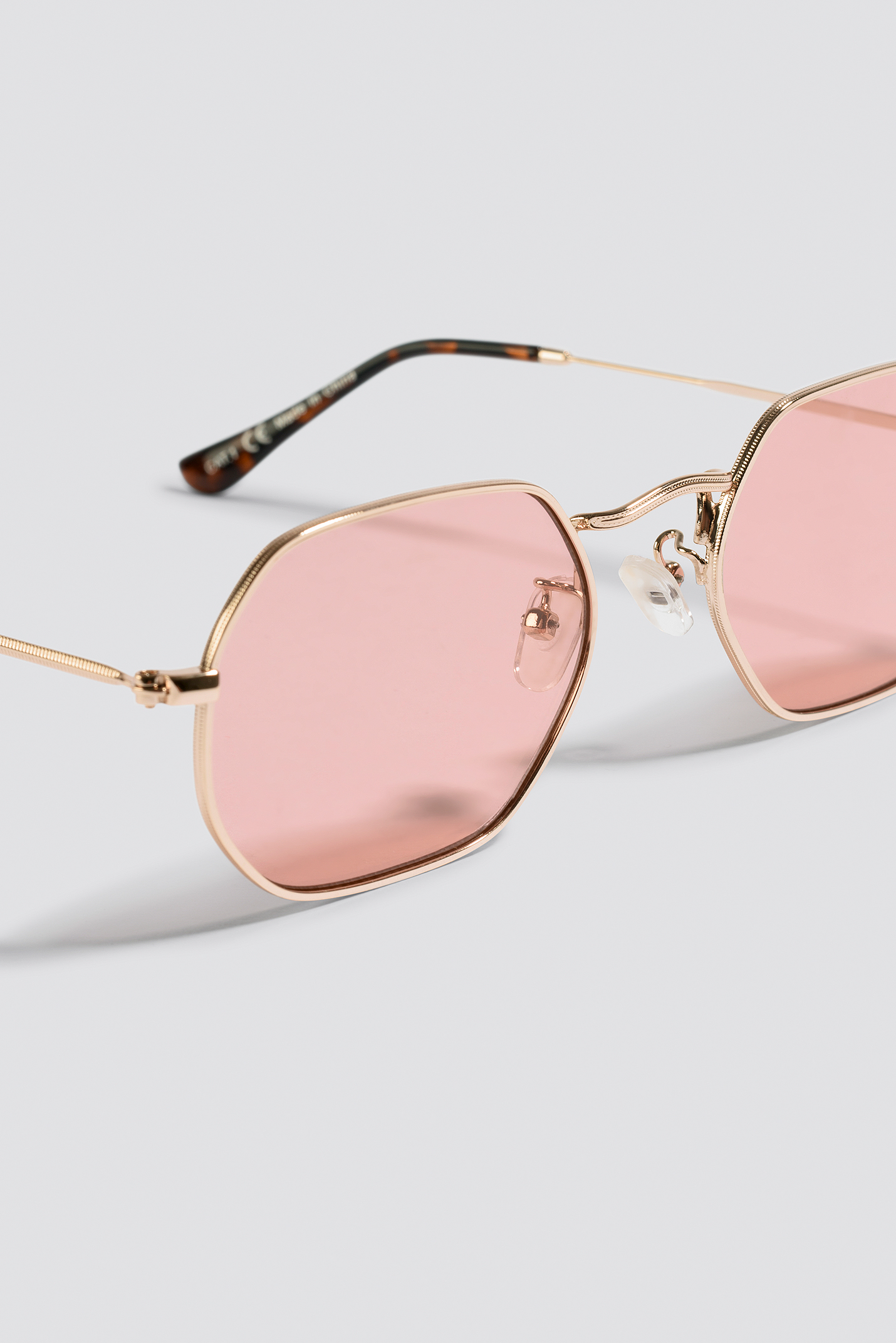 NA-KD Accessories Octagon Frame Sunglasses - Pink,Gold
