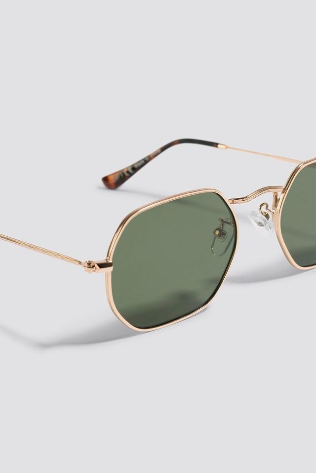 Octagon Frame Sunglasses Black/Gold