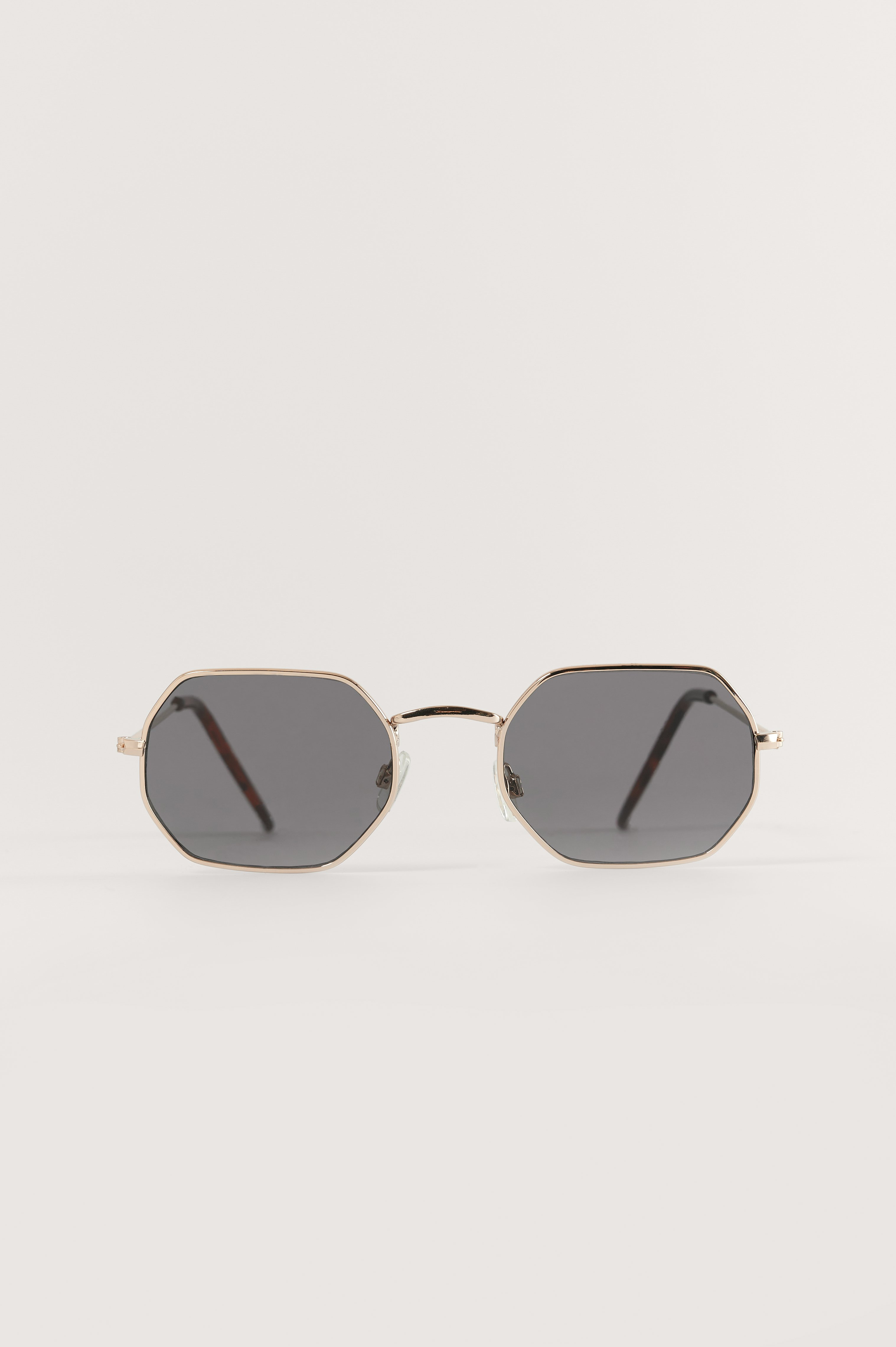 Black/Gold Octagon Frame Sunglasses