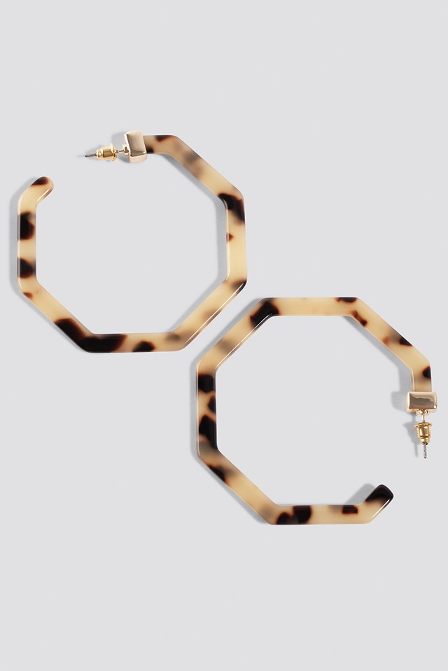 Octagon Tortoise Earrings Olive