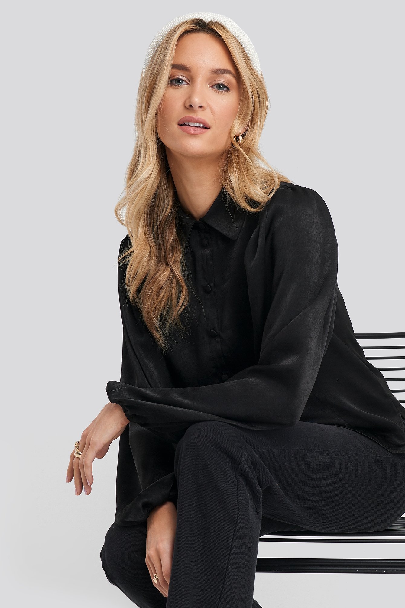 na-kd -  Peasant Sleeve Button Up Satin Blouse - Black