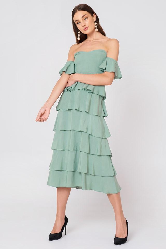 Off Shoulder Flounce Dress Dusty Green