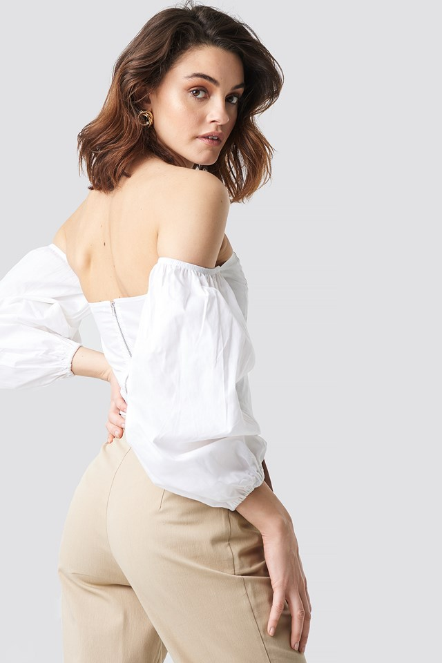 Off Shoulder Balloon Sleeve Top White