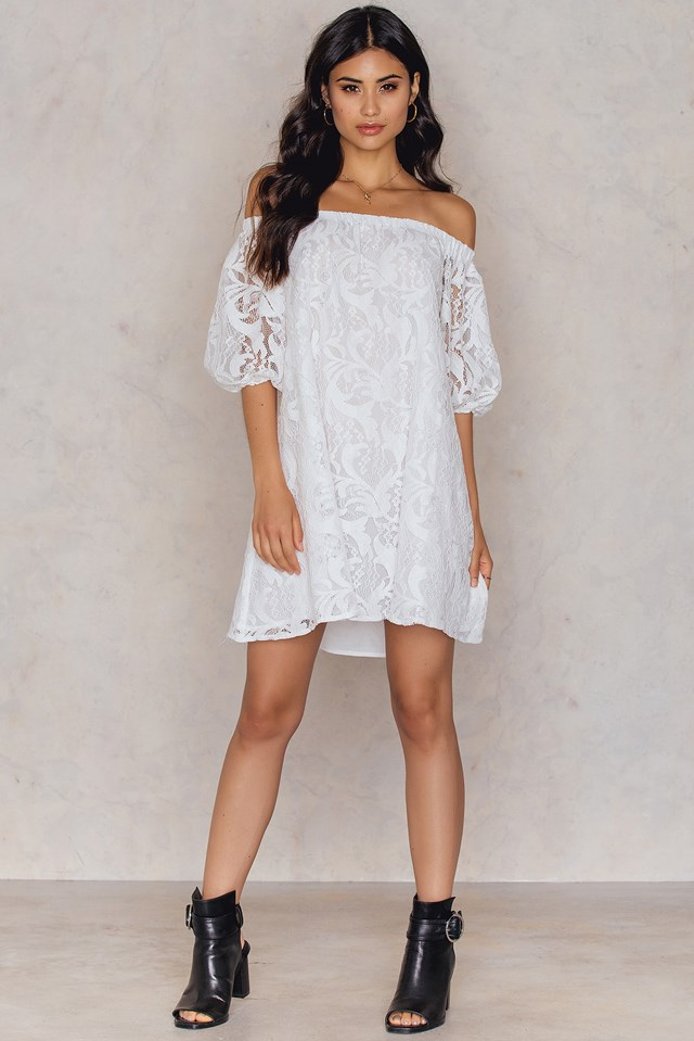 Off Shoulder Balloon Sleeve Dress White