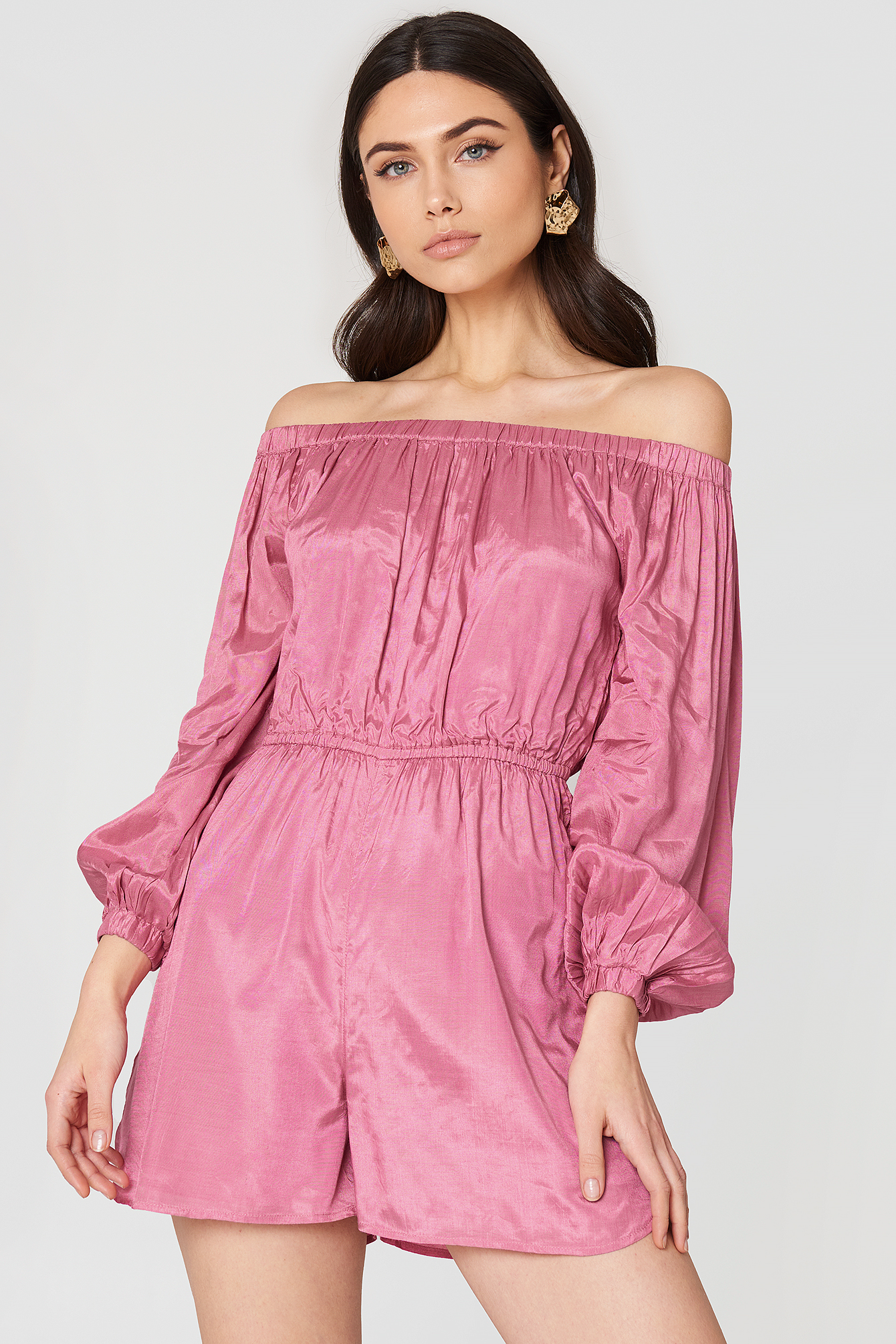 Off Shoulder Balloon Sleeve Playsuit NA-KD.COM
