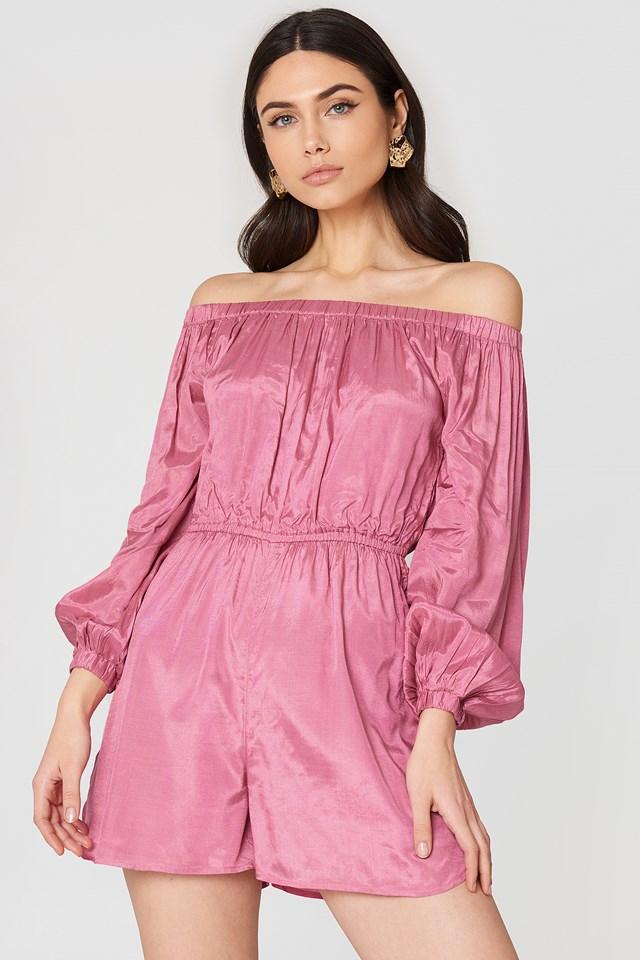 Off Shoulder Balloon Sleeve Playsuit Ballet Pink
