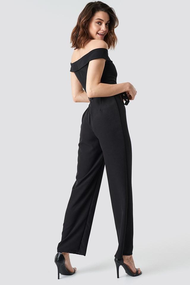 Off Shoulder Belted Waist Jumpsuit Black