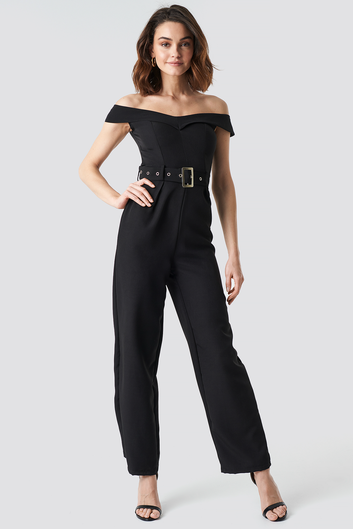 Off Shoulder Belted Waist Jumpsuit NA-KD.COM