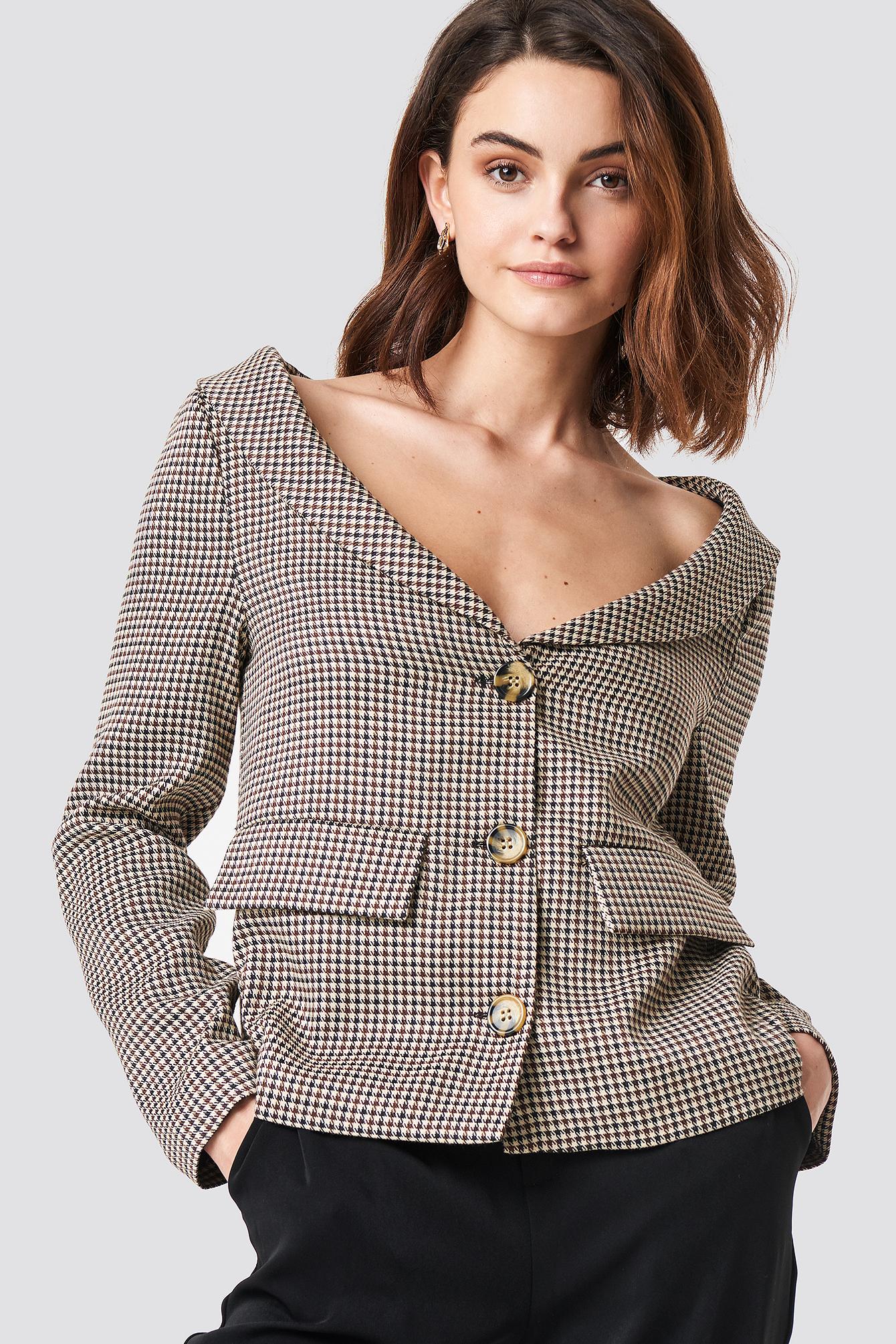 na-kd classic -  Off Shoulder Blazer - Beige,Multicolor