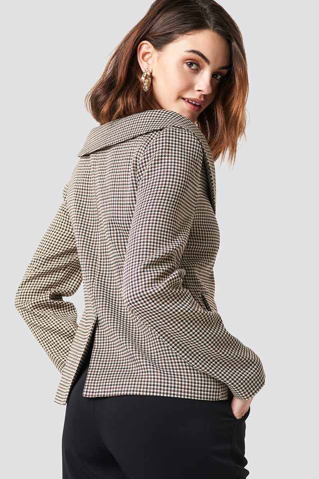Off Shoulder Blazer Brown Check