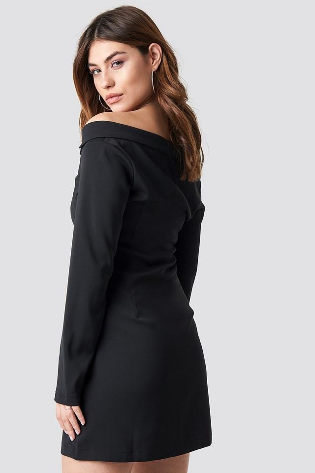 Off Shoulder Blazer Dress Black