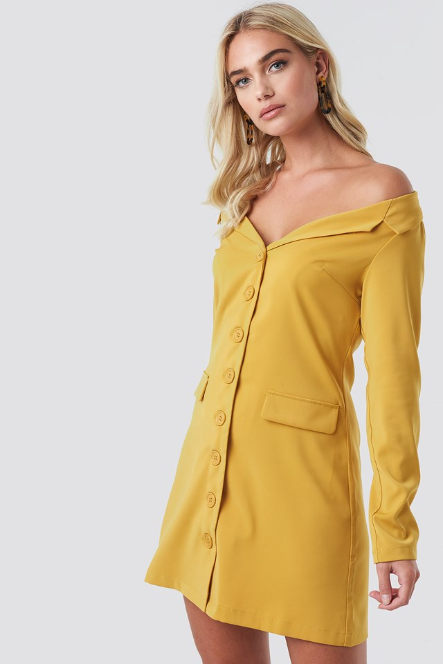Off Shoulder Blazer Dress Mustard Yellow