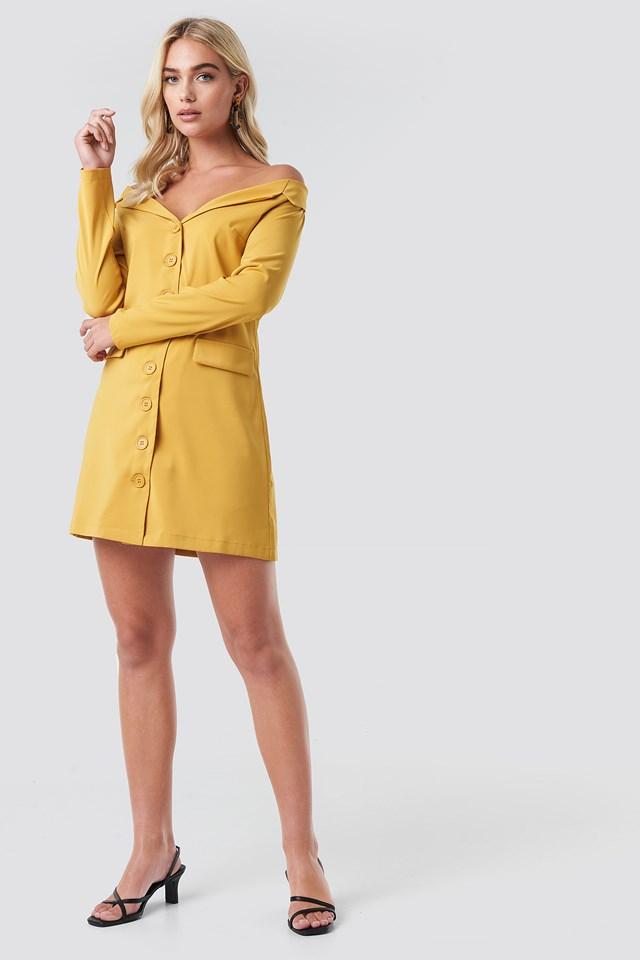 Off Shoulder Blazer Dress Mustard Yellow