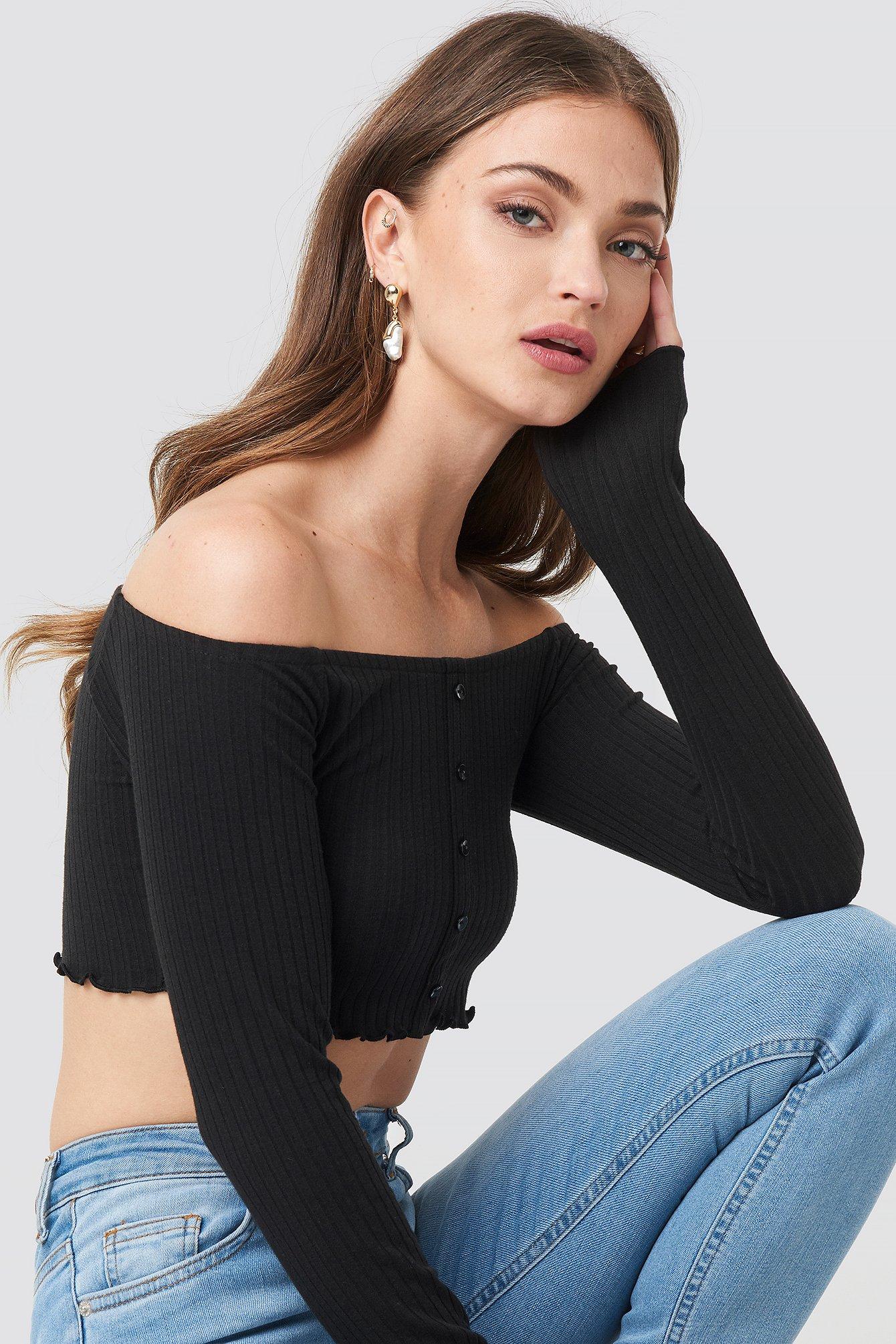 na-kd -  Off Shoulder Buttoned Top - Black