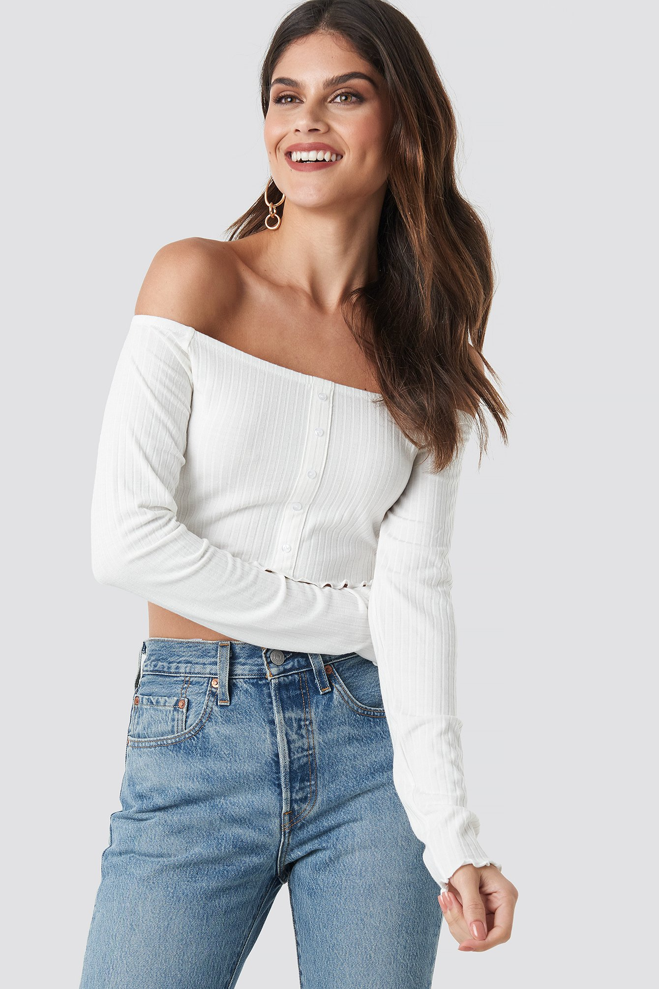 na-kd -  Off Shoulder Buttoned Top - White