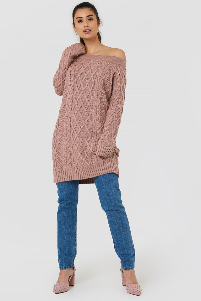 Off Shoulder Cable Knitted Dress NA-KD.COM