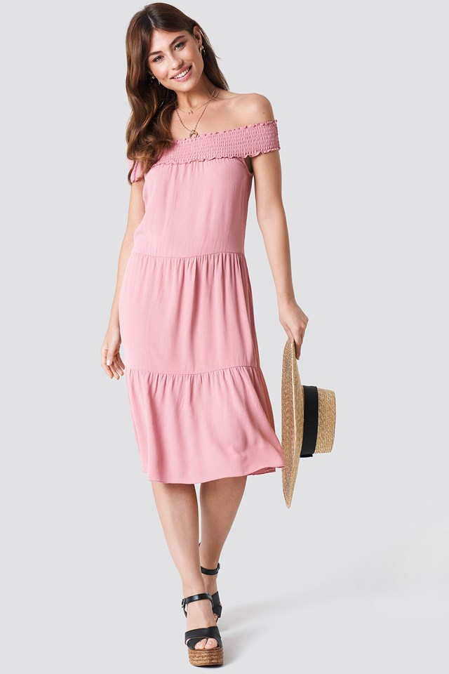 Off Shoulder Crepe Midi Dress Dusty Pink