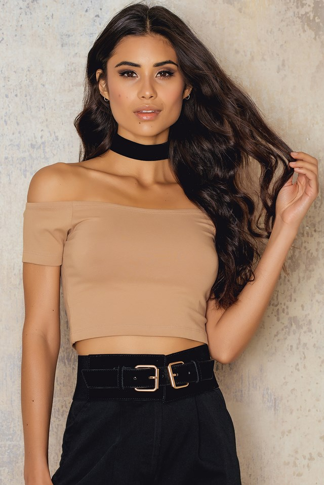 Off Shoulder Cropped Jersey Top Tan