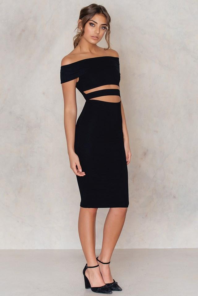 Off Shoulder Cut Out Midi Dress Black
