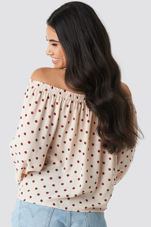 Off Shoulder Dot Blouse White/Burgundy Dots
