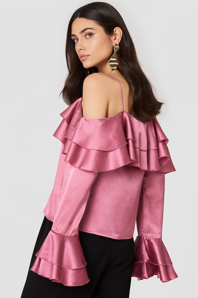 Off Shoulder Double Flounce Top Pink Rose