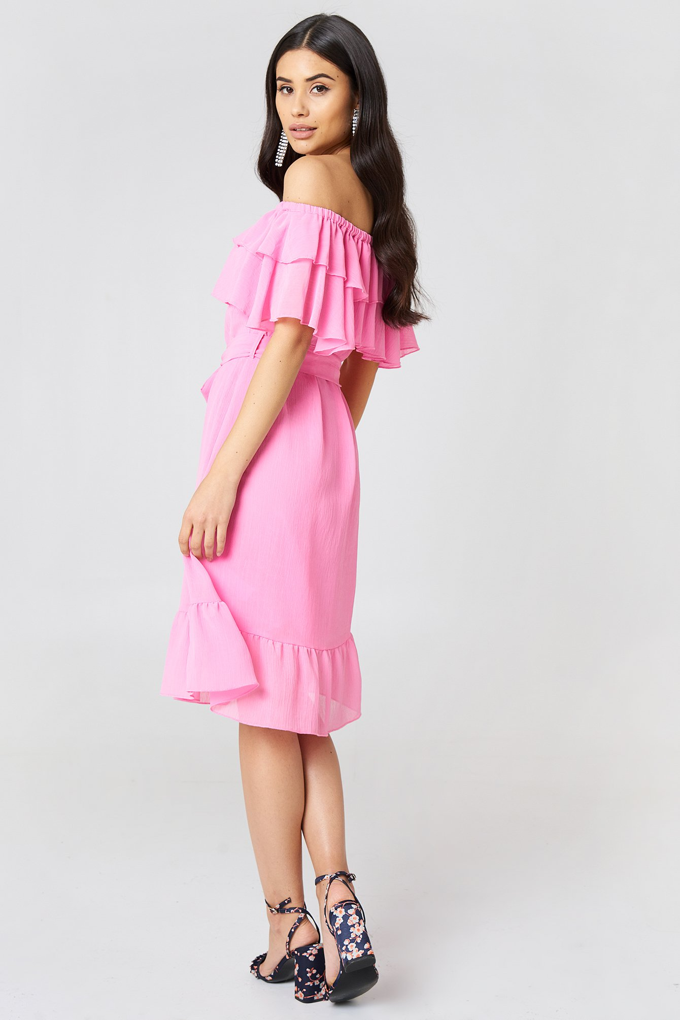 Off Shoulder Double Frill Dress NA-KD.COM