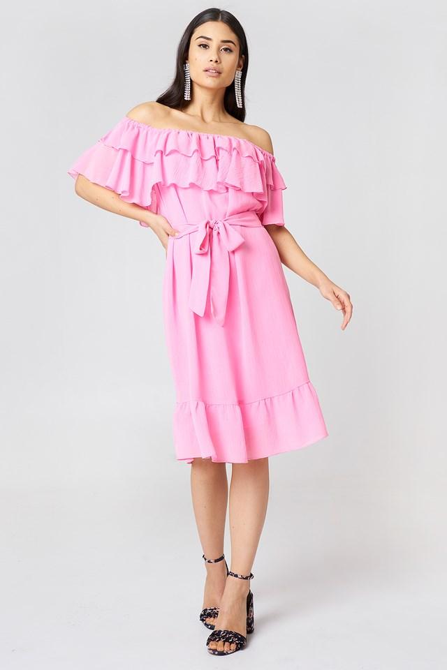 Off Shoulder Double Frill Dress Bridal Pink