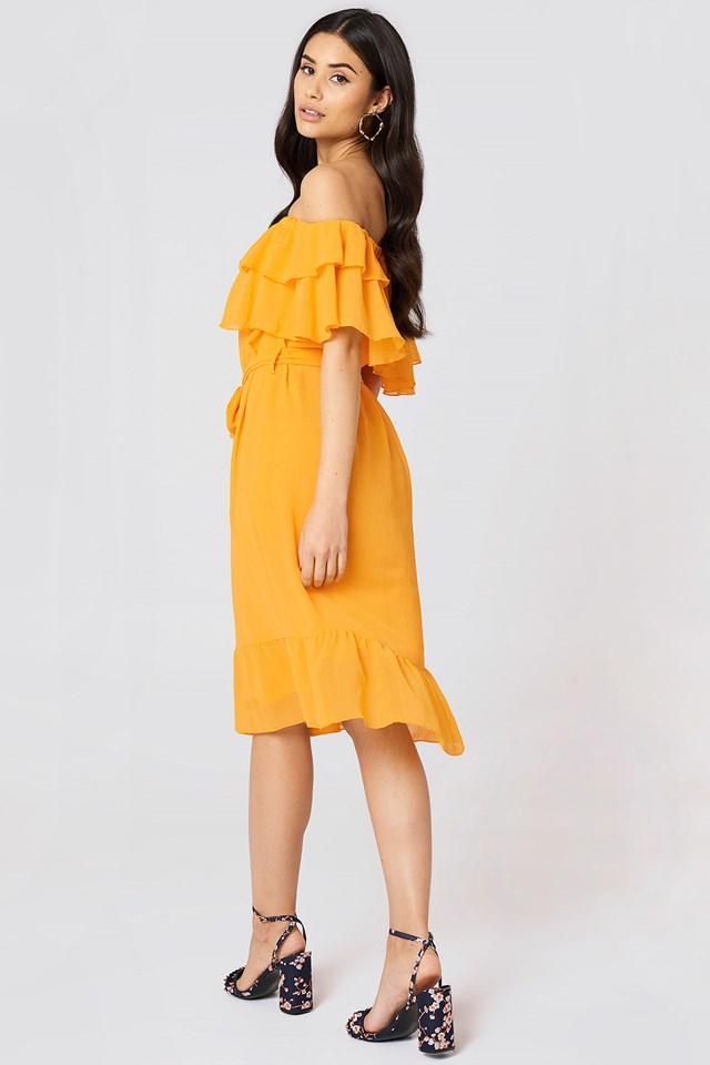 Off Shoulder Double Frill Dress Citrus