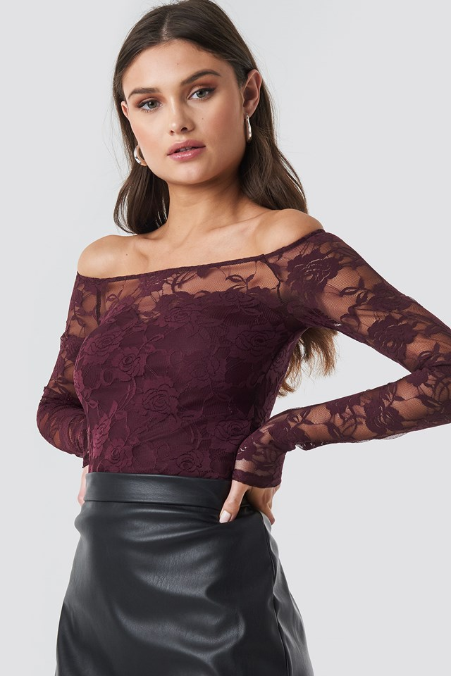 Off Shoulder Fitted Lace Top Dark Burgundy