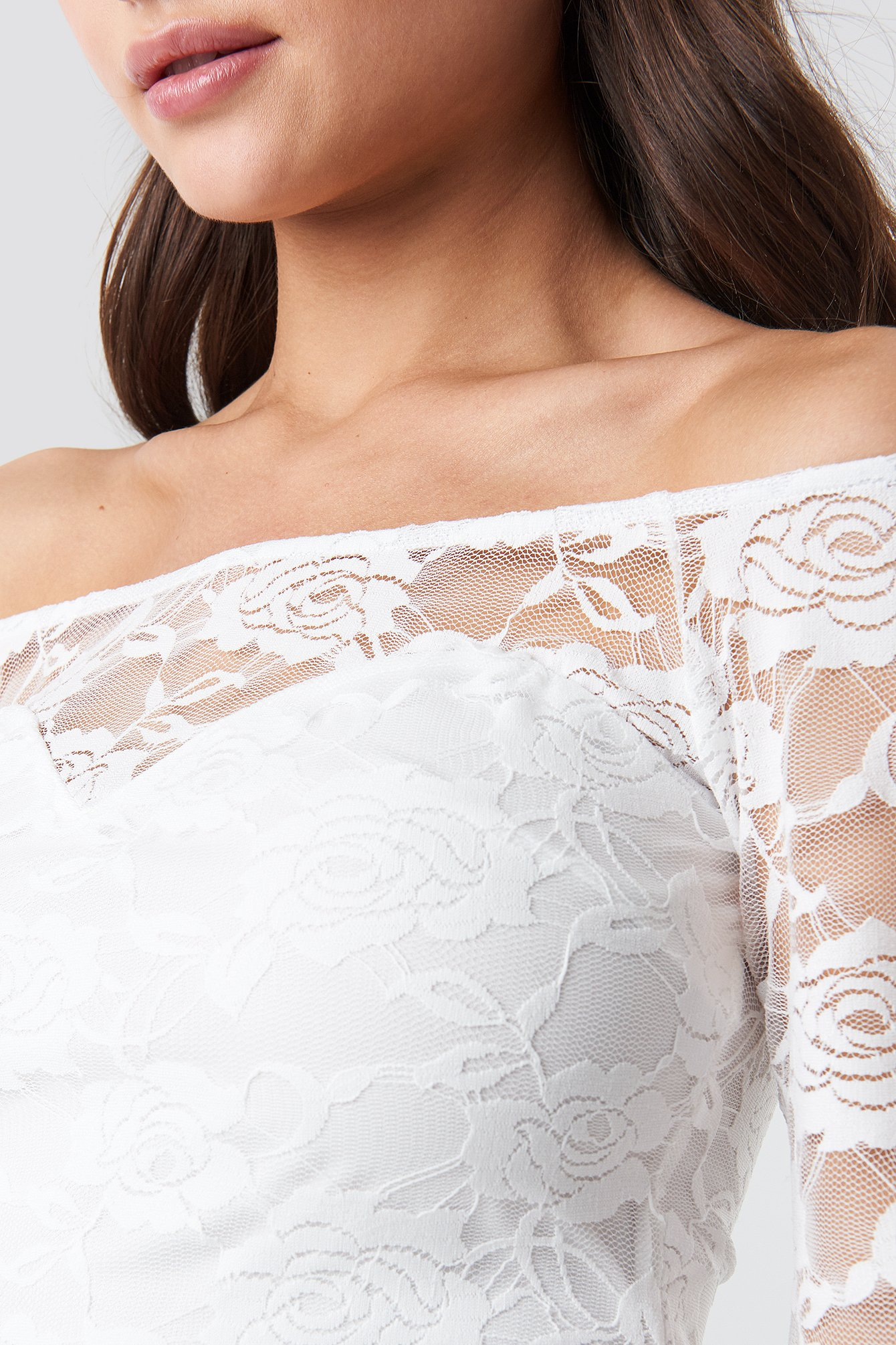 Off Shoulder Fitted Lace Top NA-KD.COM