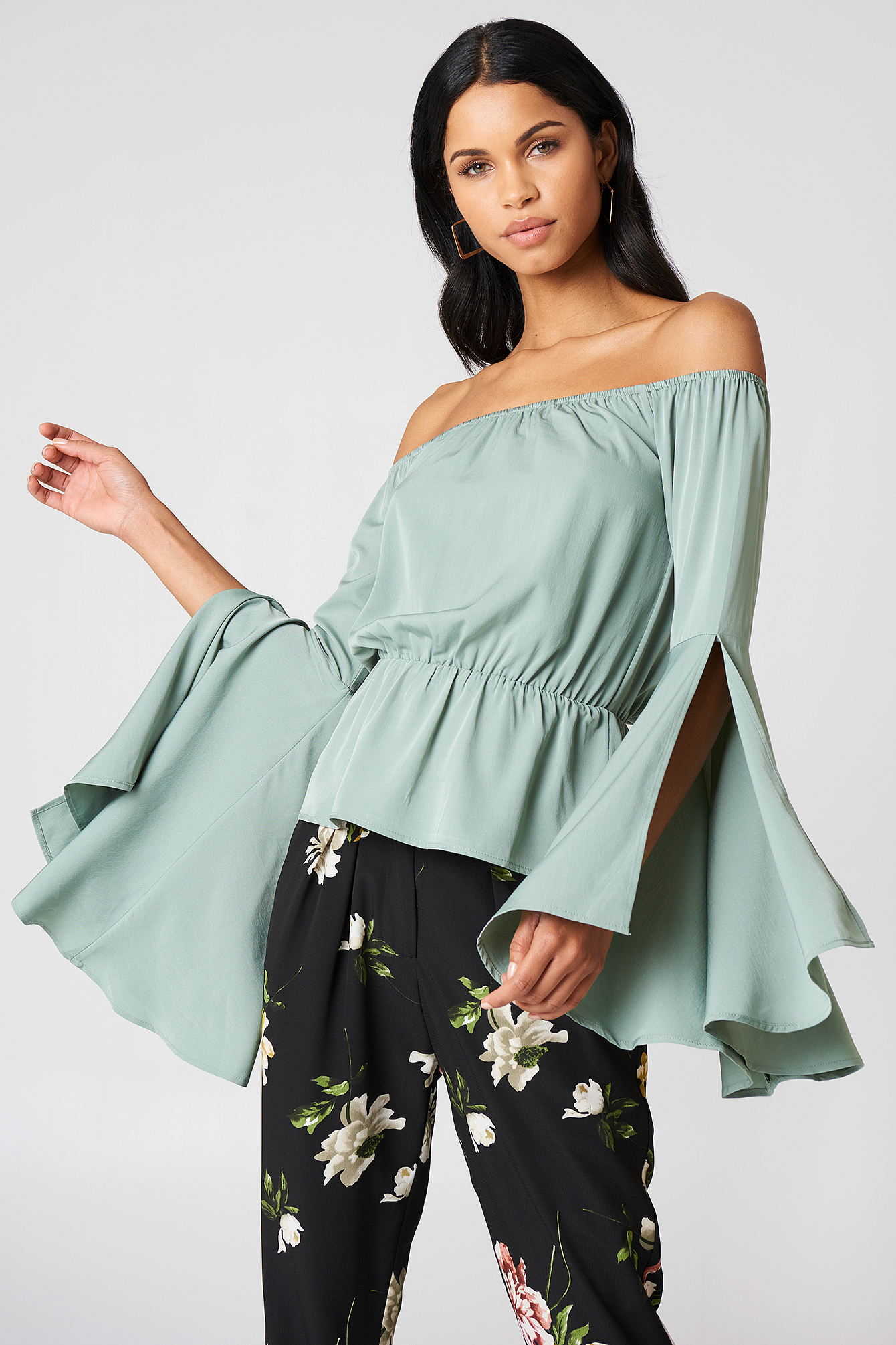 Off Shoulder Flare Sleeve Top NA-KD.COM
