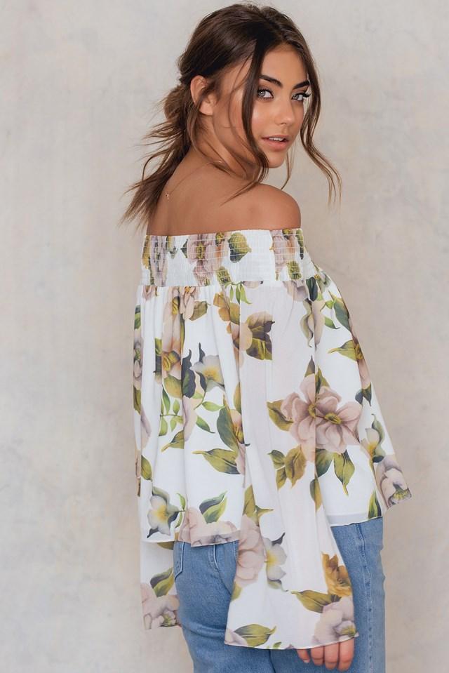 Off Shoulder Floral Print Top Print