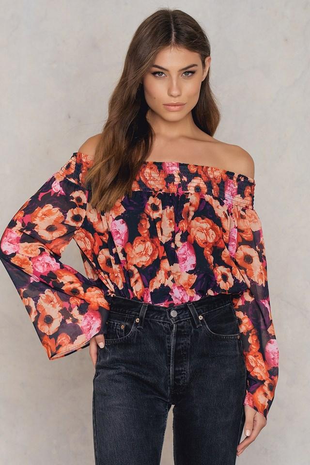 Off Shoulder Floral Print Top Orange/Pink