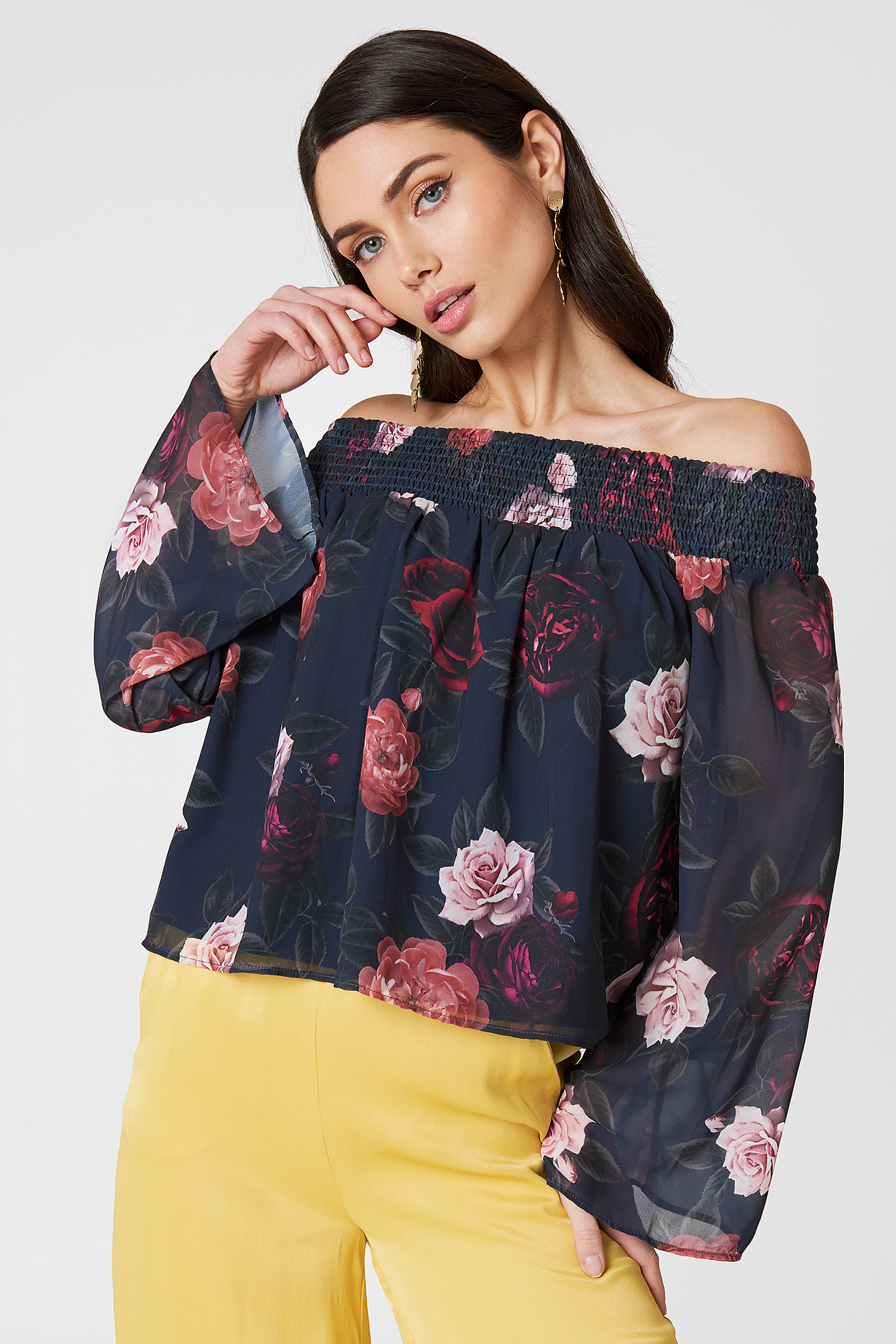na-kd boho -  Off Shoulder Floral Print Top - Multicolor,Navy