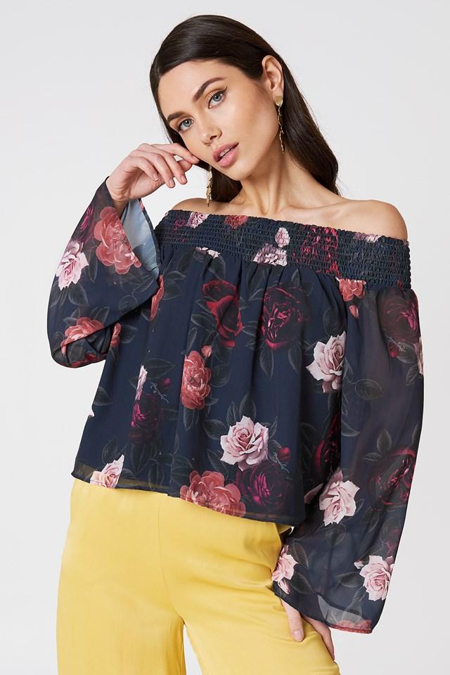 Off Shoulder Floral Print Top Dark Rose