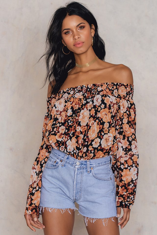 Off Shoulder Floral Print Top Black/Orange