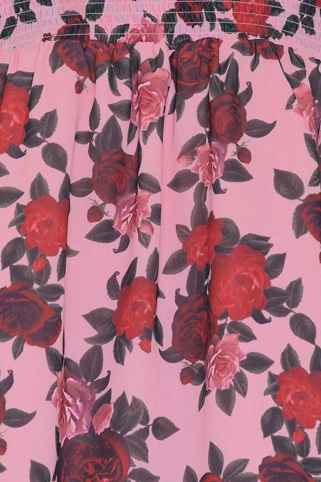 Off Shoulder Floral Print Top Pink Rose Print