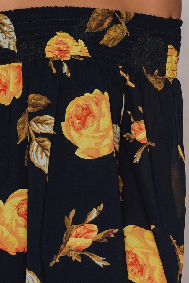 Off Shoulder Floral Print Top Black/Yellow
