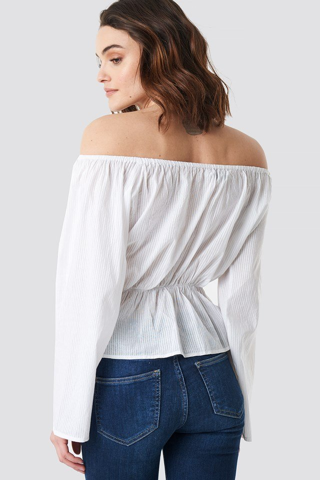 Off Shoulder Flounce Blouse White