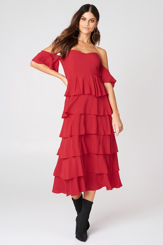 Off Shoulder Flounce Dress Red