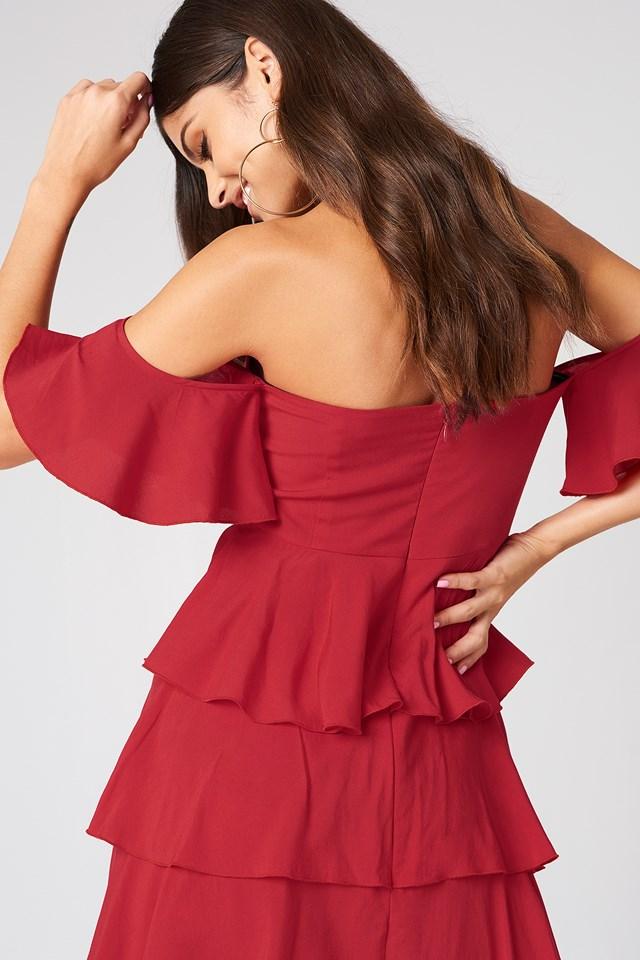 Off Shoulder Flounce Dress Red
