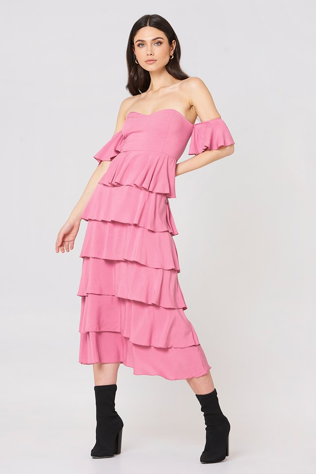 Off Shoulder Flounce Dress Ballet Pink