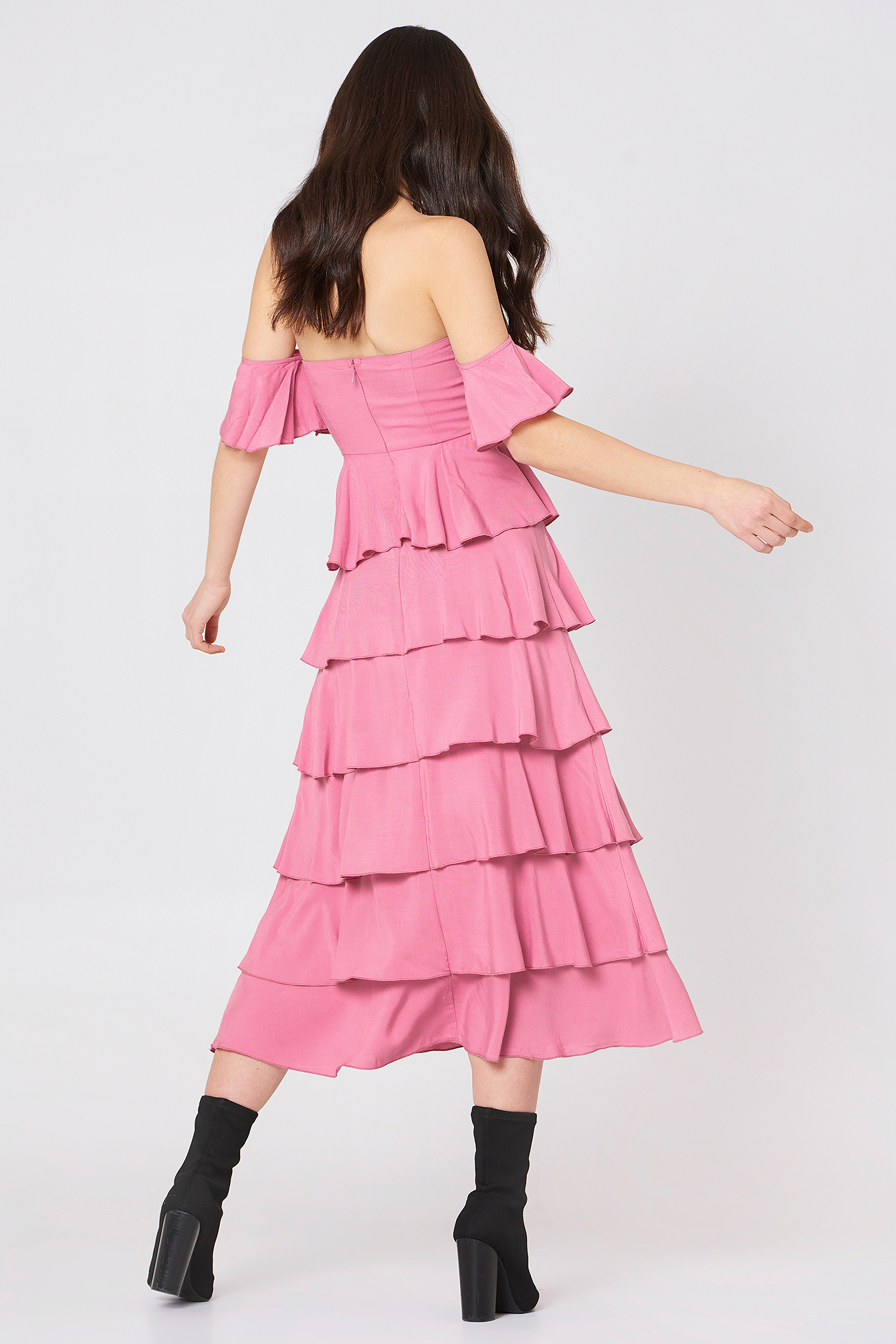 Off Shoulder Flounce Dress NA-KD.COM