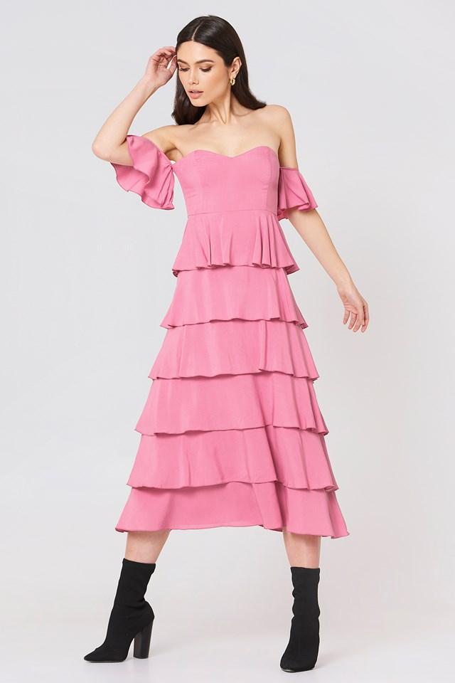Off Shoulder Flounce Dress Ballet Pink