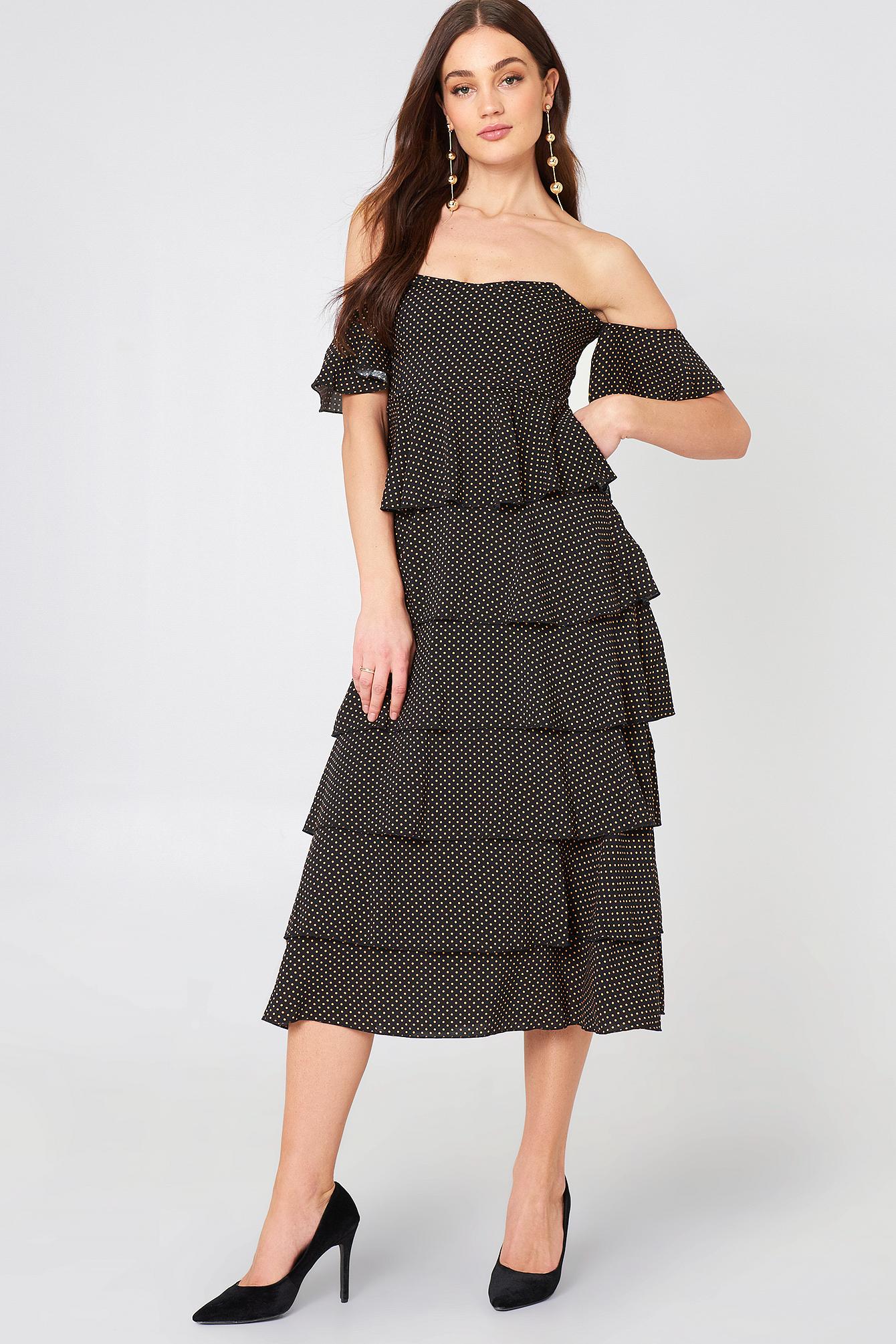 Off Shoulder Flounce Dress NA-KD.COM