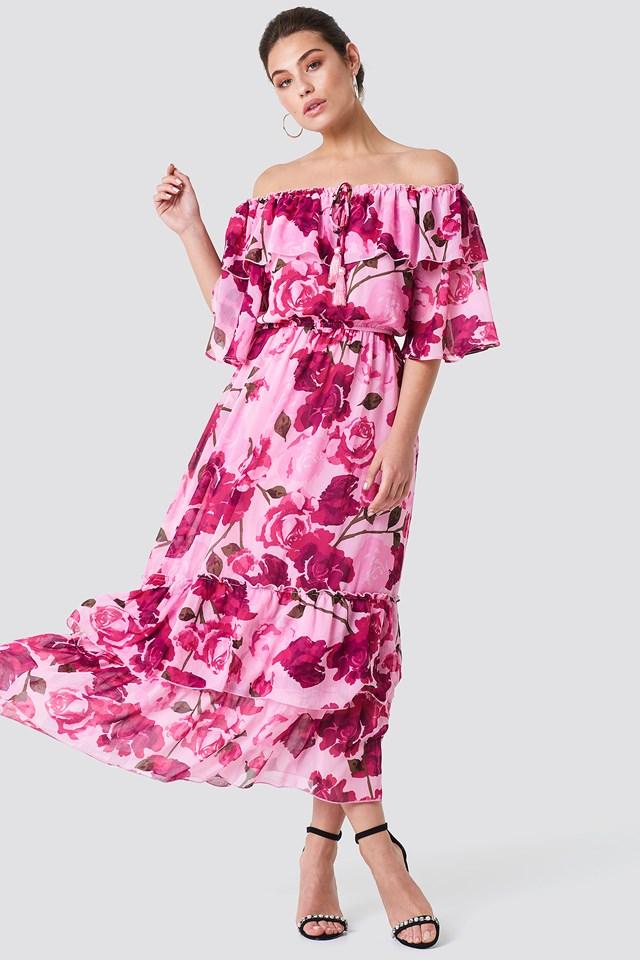 Off Shoulder Flounce Maxi Dress Light Pink Pastel Rose