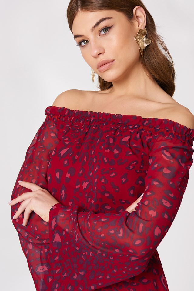 Off Shoulder Frill Maxi Dress Red Leo Print   na-kd.com f0416dee28