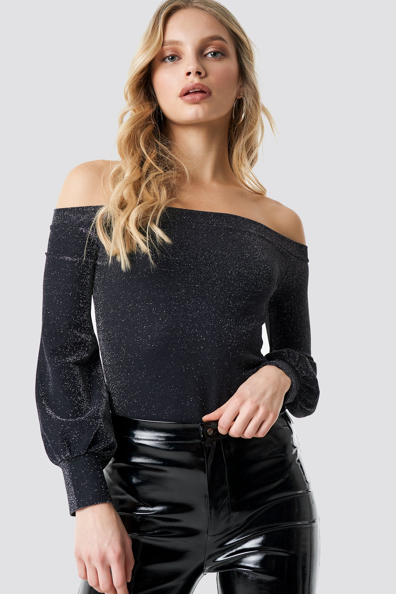 na-kd party -  Off Shoulder Glittery Top - Black