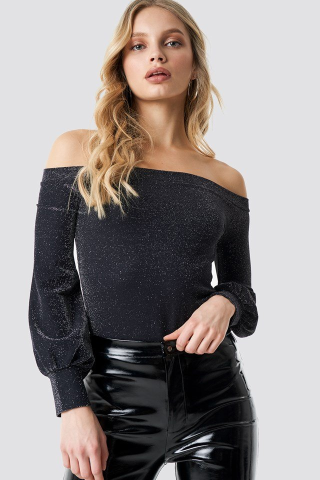 Off Shoulder Glittery Top Black