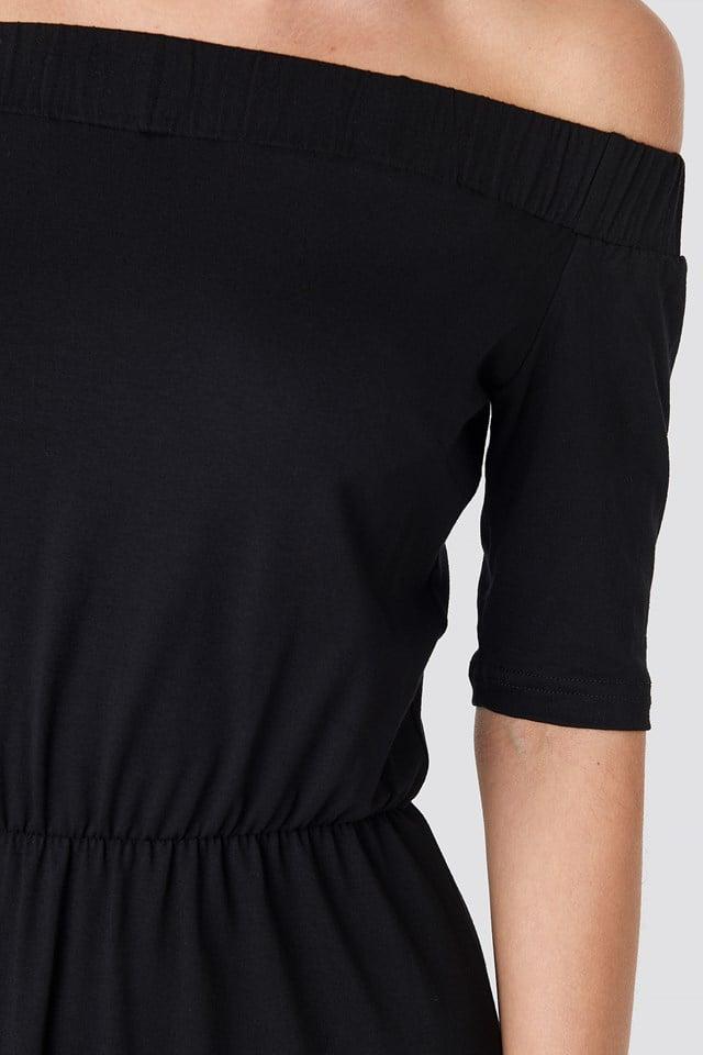 Off Shoulder Jersey Dress Black